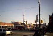 CN Tower  seen from spadina and college